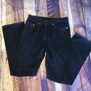 Dark Wash Denim Straight Leg High Waisted Jeans